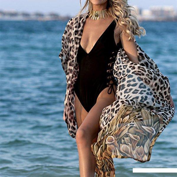 Şifon Hırka Bikini Kapak Ups Pareo Beach Cape Tünikler Yaz Plaj Mayo Kapak Ups Artı Boyutu yazdır leopard