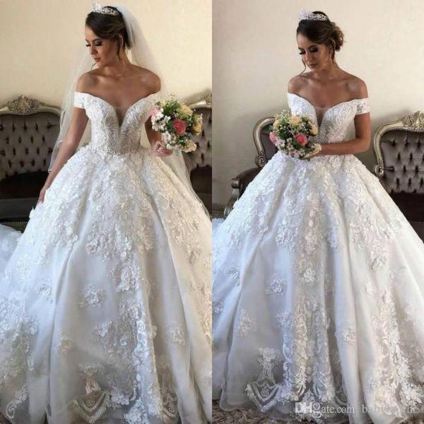 Elegant Strapless Lace Wedding Dresses Appliques Bridal Gowns Sweep Train Custom