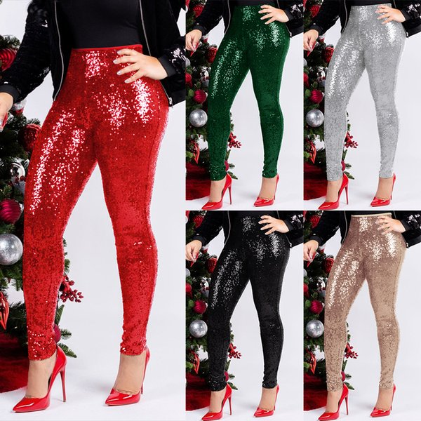 Women Sequin Pencil Pants High Waist Skinny Leggings Stretch Trousers Night Club Streetwear Maternity Bottom Pants OOA6402