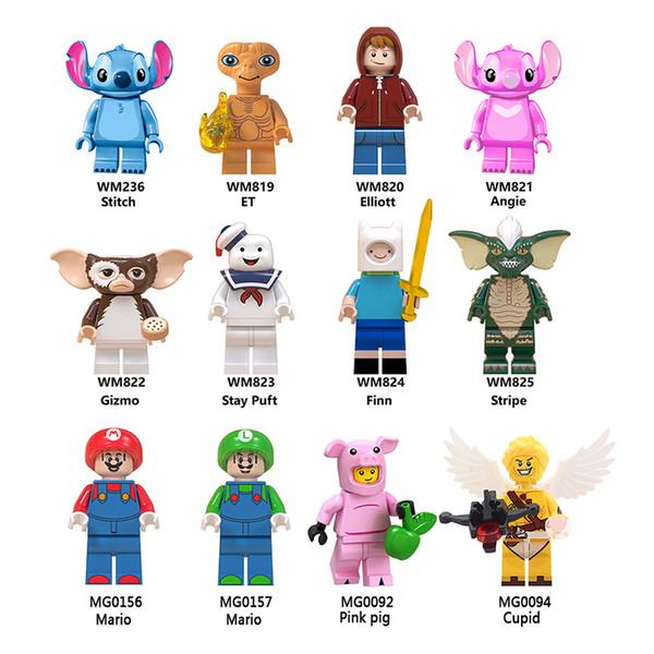 Building Blocks Supper Mario Stitch Gizmo Stripe Pink pig ET DIY minifigures cute gifs for children