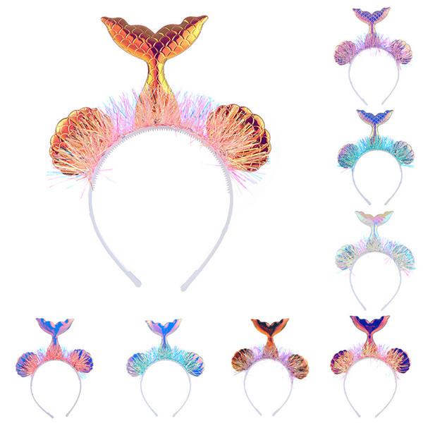 9-Zoll-Baby-Meerjungfrau-Haar-Stöcke Karikatur Sequin-Stirnband Kinder Mädchen Fischschwanz Designer Stirnband für Kinder Haarschmuck C6824
