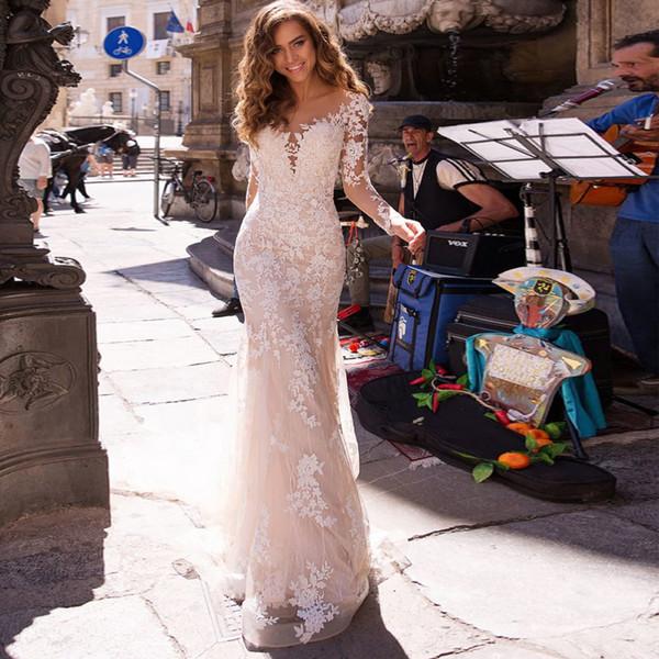 Mode Meerjungfrau Spitze Brautkleider Mit Langen Ärmeln Sheer Bateau Neck Perlen Brautkleider Trompete Tüll Plus Size robe de mariée