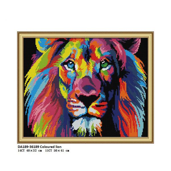 DA189 Farbiger Löwe, gedruckt auf Stoff gezählt DMC 14CT 11CT Stickpackungen, Stickgarnituren Handwerk Wohnkultur