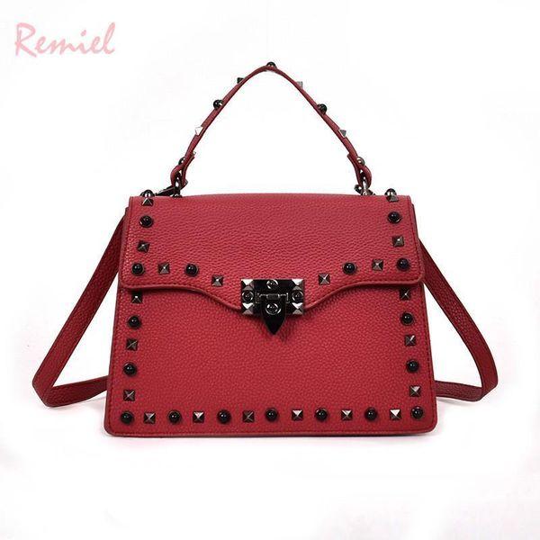 European Style Fashion Lady Tote Bag Nice New Quality PU Leather Womens Designer Handbag Rivet Lock Shoulder Messenger Bags