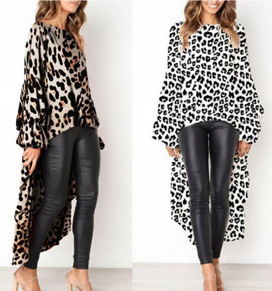 Dress for Women 2019 Party Sexy Dress Lady Long-Sleeve Crew-neck Slim Leopard Print Irregular Women Sexy Split Dress Size S-XL