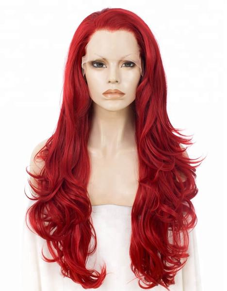 Glueless Бесплатная Быстрая Доставка Объемная Волна Красный Длинные Бразильские Человеческие Волосы Полный/Передние Парики Шнурка Предварительно Сорвал Перуанский Девственные Волосы Реми