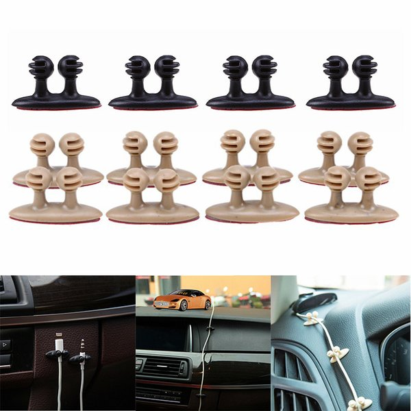 8Pcs Car Charger Line Headphone//USB Cable Clips Cord Clip Interior Accessories