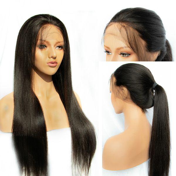 150 densidades 360 pelucas frontales de cabello humano de encaje para mujeres pelucas rectas de encaje frontal cabello remy brasileño