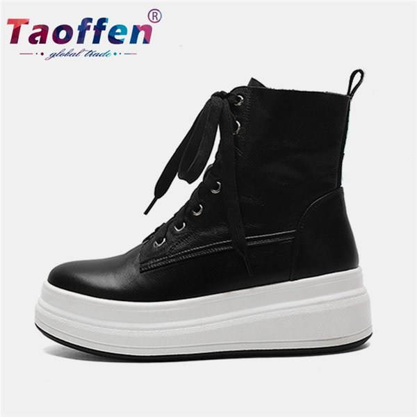 taoffen real leather women walking shoes solid color platform sport shoes women sneakers cool fashion size 34-40