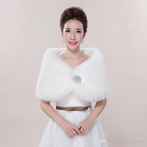 Hochzeit Haar Schal Braut warmen Herbst und Winter Weste Schulter Kaninchenpelz Diamanthochzeitskleid Mantel rot weiß Großhandel
