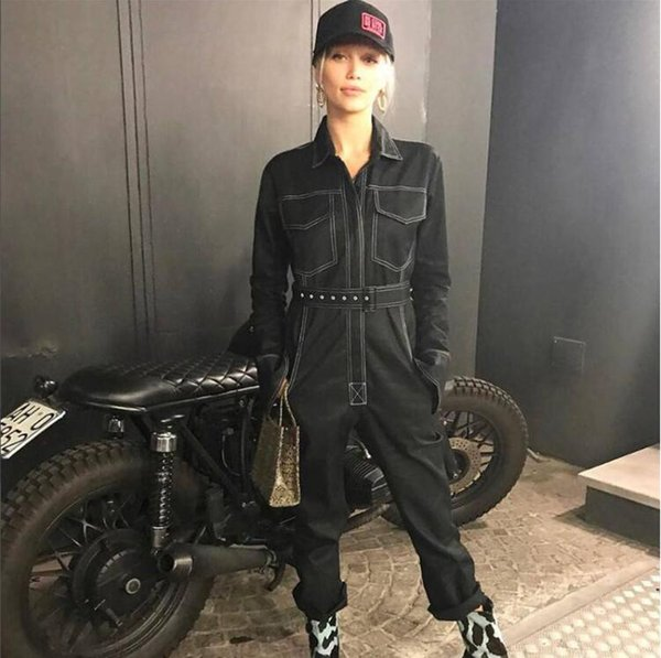Europe and the United States ins explosions overalls 2019 autumn women's new casual pants was thin hit color denim jumpsuit