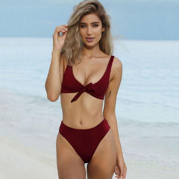Bow Solid color bikini sexy Large V neckline High waist Briefs 2019 women Biquini multiple colour Push Up Swimwear