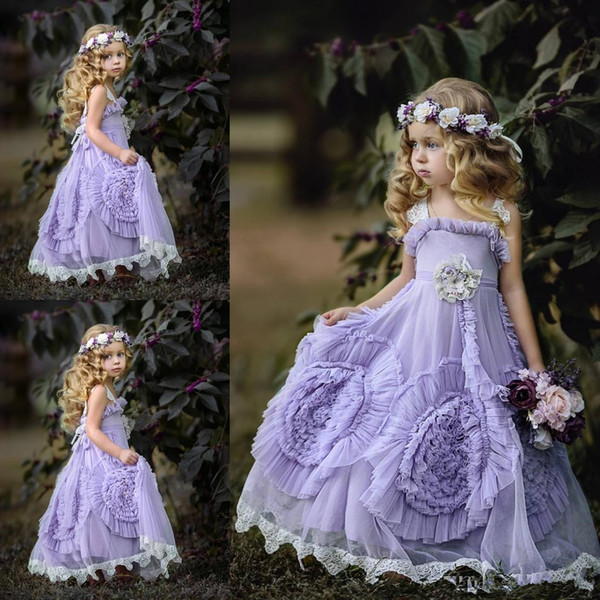 Cheap Lilac Floor Length Junior Bridesmaid Dresses For Weddings A Line Graduation Gown Children Toddler Prom Dress Girls Custom Made