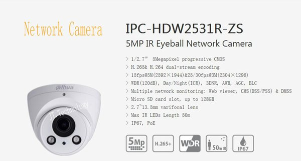 In Stock DAHUA 5MP CMOS WDR IR Eyeball Network Camera With POE IP67 with Logo DH-IPC-HDW2531R-ZS