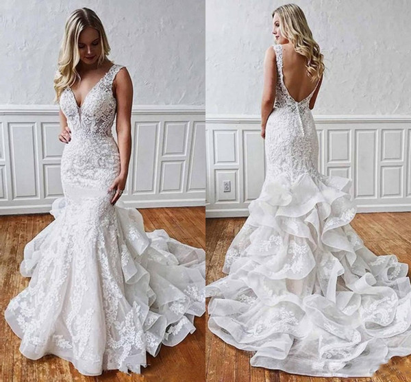 Ruffles Tiered Trail Wedding Dress Backless V Neck Handmade Appliques Lace Layered Bridal Gowns 2020 Spring New Custom Size Tulle Wedding Dresses