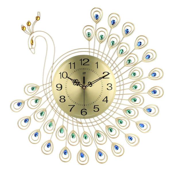 Reloj de oro grande del diamante 3D del pavo real del reloj de pared de metal para 53X53cm Inicio Sala de estar de la decoración DIY Crafts Relojes Adornos regalo