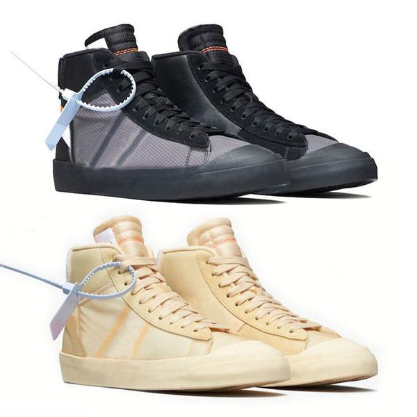 Top fashion 2019 Blazer Scarpe Mid Sneakers Basket Sport Sneaker Ror Uomo Donna Nero Bianco Scarpa da skateboard di riso Eur