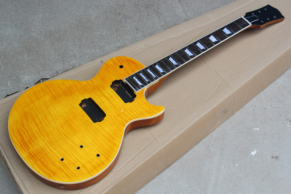 Kit de Guitarra Elétrica Amarelo personalizado de Fábrica (Peças) com Flame Maple Folheado, DIY Semi-acabado Guitarra