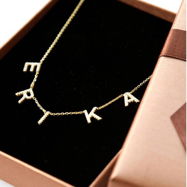 Joyería pendiente del collar de cristal colgante Lateefah Nombre aduana personaliza circón collar de la letra para las mujeres Dropshipping regalo
