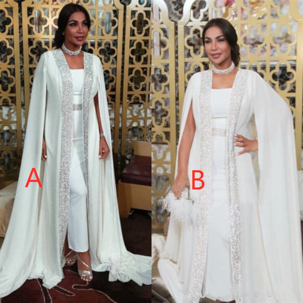 best selling Kaftan Dubai Formal Celebrity Dresses Two Pieces 2020 Muslim Evening Gowns White Sequins Chiffon Prom Dresses Floor Length custom
