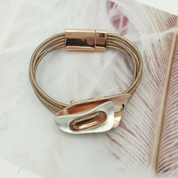 Pulseras de cristal de diseño único bohemio brazaletes para mujer aleación de moda tubo magnético barra cierre pulsera 3 colores