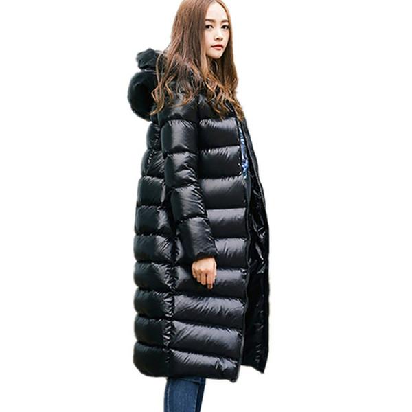 2019 Winter Women 95% White Duck Down Jacket Female Wadded Long Coat Warm Outerwear Waterproof Hooded Parkas Zipper Overcoat U9