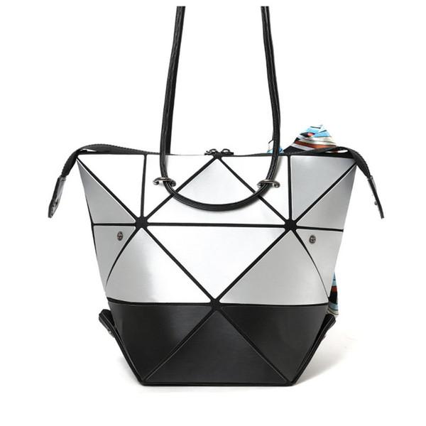 Gros-BaoBao issey Japon miyak Variété Pliage Déformation Femme Sac Laser Géométrie Lingge Épaule Fourre-tout Shopping Bag Mode Fille Sac