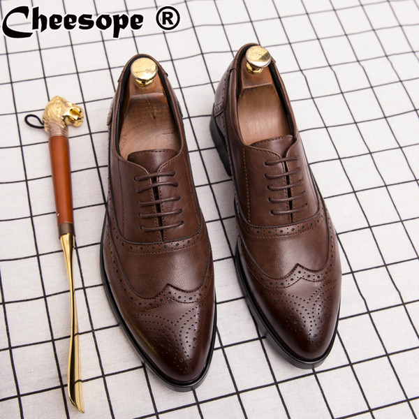 Men Brogue Dress Shoes Leather Luxury Italian Style Pointed Toe Formal Wedding Casual Lace-Up Business Leather Shoes Size38-44