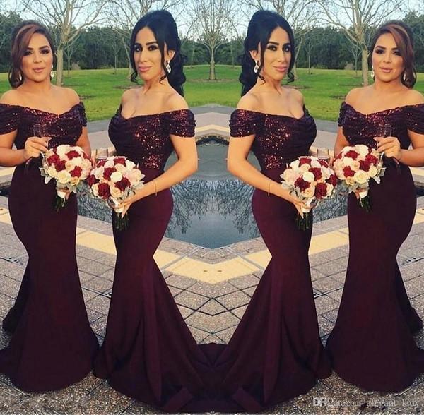 Robes de demoiselle d'honneur de sirène paillettes 2019 sur l'épaule Meilleur robes de soirée de mariage Blush rose demoiselle d'honneur robes