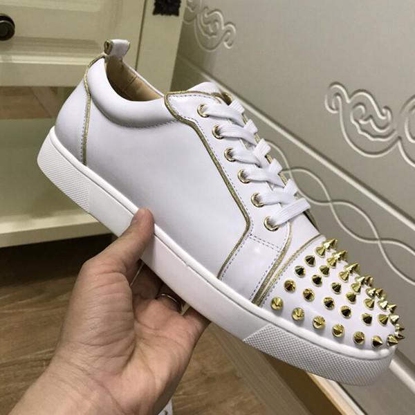 Homens Sapatos de Grife Designer de Tênis de baixo corte Spikes Flats sapatos Vermelho Inferior Para Homens e Mulheres Sapatilhas De Couro Sapatos de Festa Designer