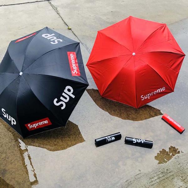 Sombrilla Tide marca moda carta impresión Parasol 8 hueso A prueba de viento paraguas simple nuevo estilo al por mayor
