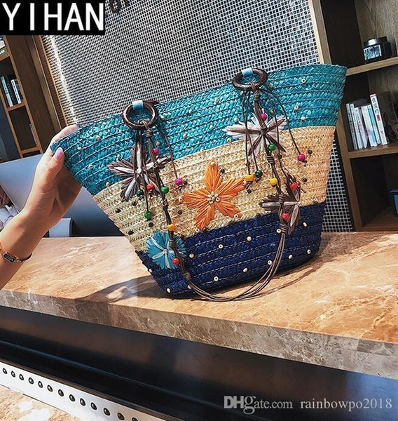 Factory independent brand women bag romantic grass woven beach bag summer new pattern woven shell bag fashionable fashion beads ladies handb