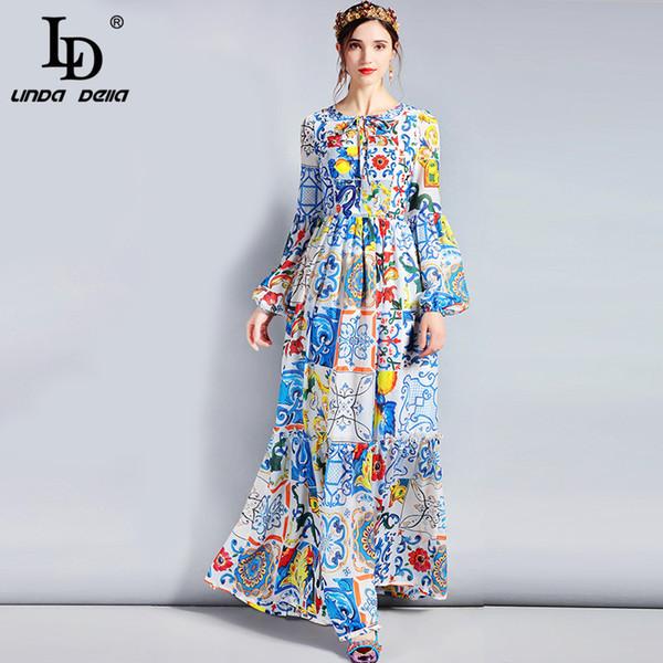 top popular Ld Linda Della Fashion Designer Maxi Dress 3xl Plus Size Women's Long Sleeve Boho Colorful Flower Print Casual Long Dress Y19012201 2021