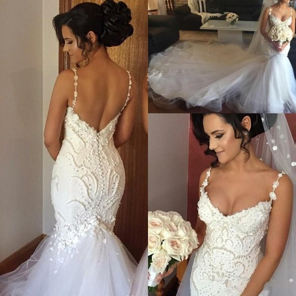 2019 Mermaid Wedding Dresses Spaghetti Straps 3D Flowers Appliques Lace Beads Pearls Sweetheart Chapel Train Low V Back Arabic Bridal Gowns