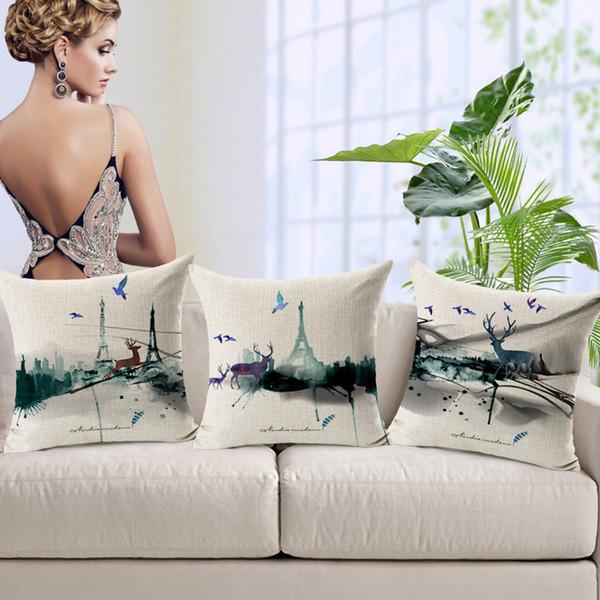 Handgemalte Tinte Landschaft Rentier Kissenbezüge für Hotel Liefert Sofa Bettwäsche Dekorative Kissen Kissenbezüge