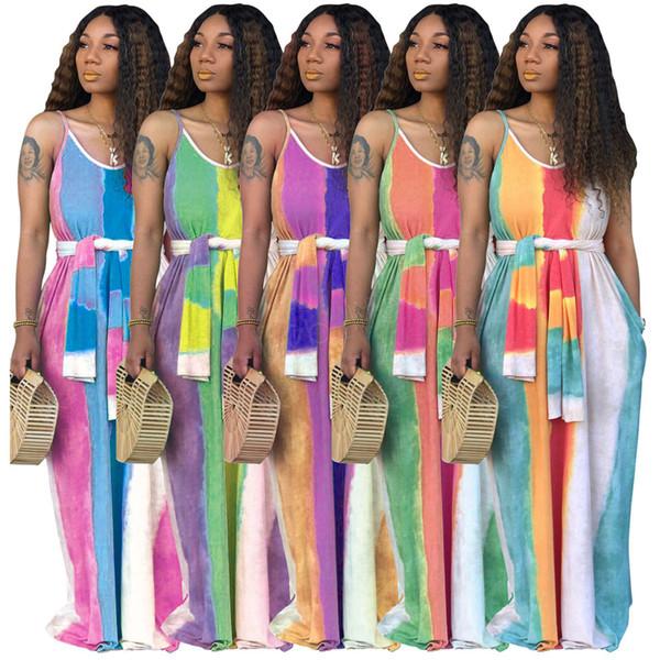 Vestidos largos de mujer Faldas largas sin tirantes a rayas Fajas sueltas Ropa casual de verano Sin mangas Colorido vestido de verano LJJA2623