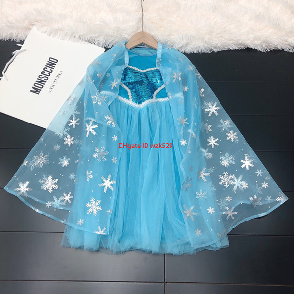 Girls dress kids designer clothing autumn snowflake silver design dresses chest sequins decoration long sleeve dresses