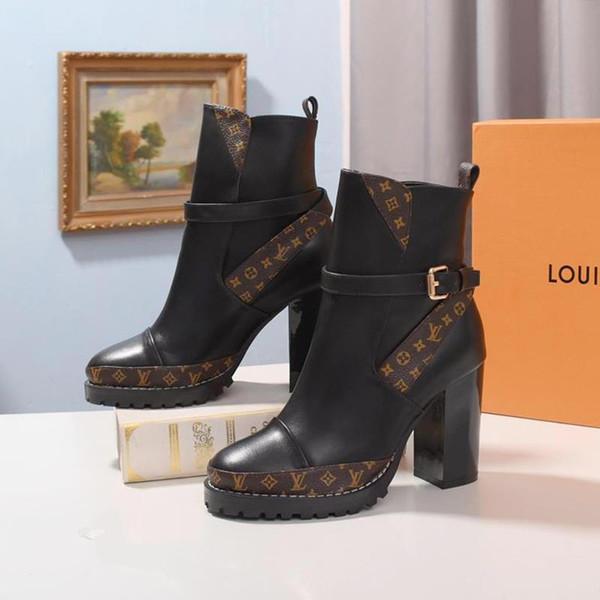 LükstasarımcıLV Bayan Yıldız Trail Bilek Deri Martin Boots Chaussures de femme Kadın Ayakkabı Moda Tipi Bottes Femmes Lux Ayakkabı