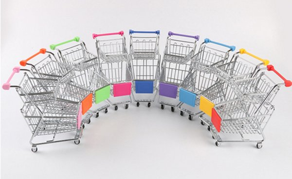 1 X Mini Metal Shopping Cart Children Pretend Play Home Decor Model Good For Gift