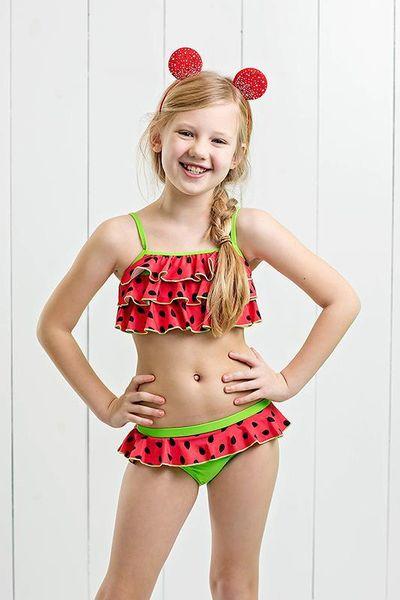 Été petite fille maillot de bain bébé pastèque impression Bikini maillot de bain enfants en bas âge 2pc Swim Set 5 taille pour 1-6 t