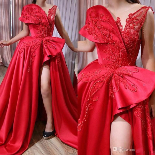 best selling Plus Size Red Lace Prom Dresses 2020 Front Side Slits Beaded Sexy Arabic Dubai African Formal Evening Gowns Custom Made