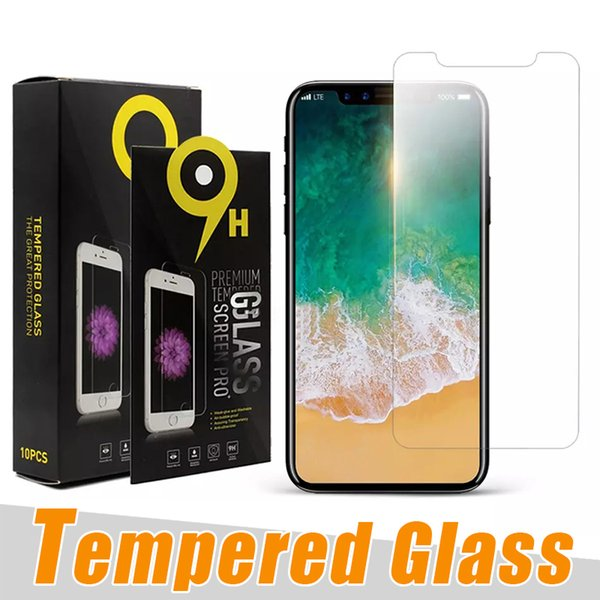 9H Hardness Tempered Glass for iphone 7 8 plus xr xs max Antii-Scratch Screen Protector for samsung J3 J7 2018 LG Stylo 4