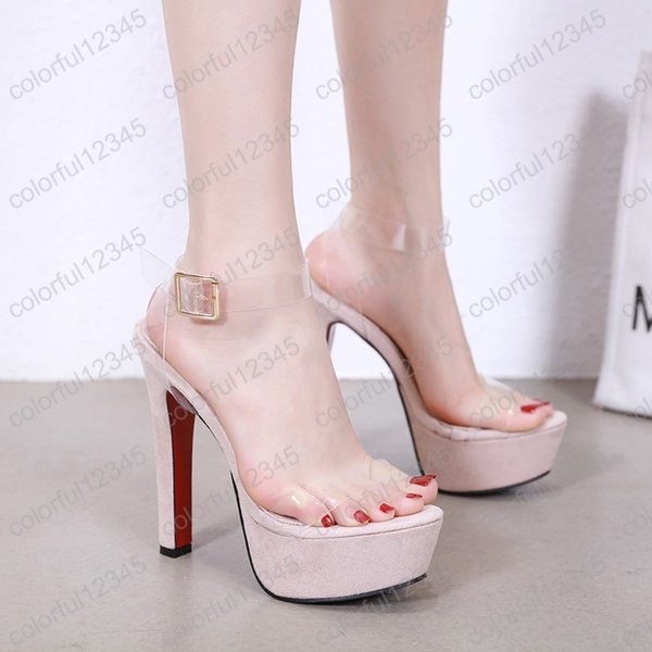 bastante agradable cb3b8 55c9f Compre Sandalias Para Mujer Plataformas Zapatos De Vestir 15 Cm Sandalias  De Tacón Alto Sexy PVC Tacones Transparentes Sandalias De Boda De Verano ...