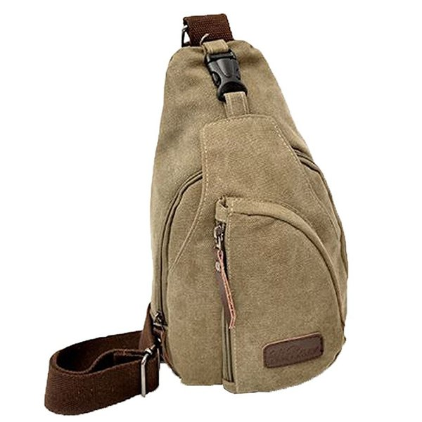 Lona Homens Bolsa de Ombro Bolsa de peito Crossbody Sports Bag, Khaki