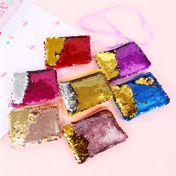 New Fashion Kids Girl Glittering Purse Mermaid Sequins Coin Purse Wallet Women Handbag Party Zipper Clutch Bag Earphone Package