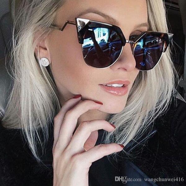 Cat Eye Sunglasses Women Newest Fashion Designer Coating Mirrors Metal Bending Temple Sun Glasses Feminino UV400