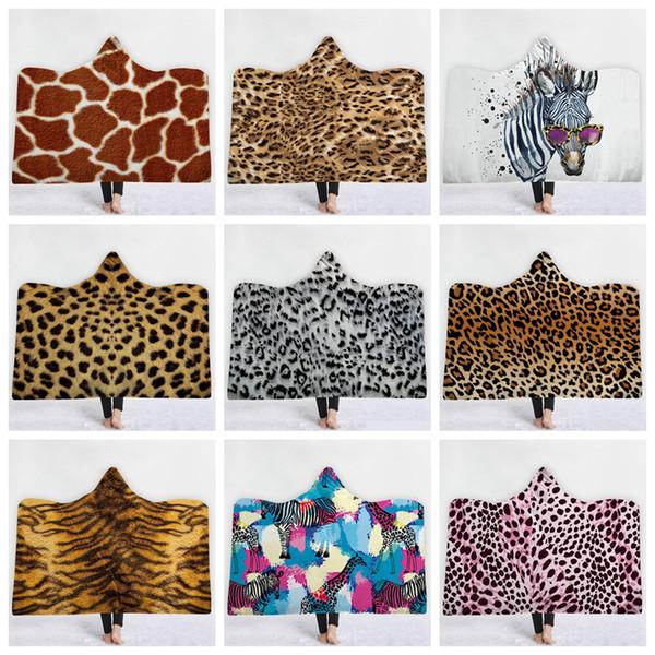 imprimé léopard Sherpa à capuchon Thorw Blanket 150 * 130cm 3D imprimé zèbre hiver d'enfants en peluche enfants Cape Cape Châle canapé Fleece Wrap LJJA3183