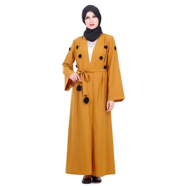 Vestido musulmán 2019 Mujeres ropa islámica Kaftan marroquí amarillo Abayas Ladies Kaftans largo túnica Dubai Abaya turco ropa