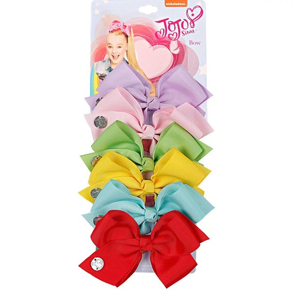 JOJO SIWA RTS 5.6inch LARGE Rainbow Unicorn Signature HAIR BOW with card and sequin logo baby Children Hair Accessories fashion hair clip