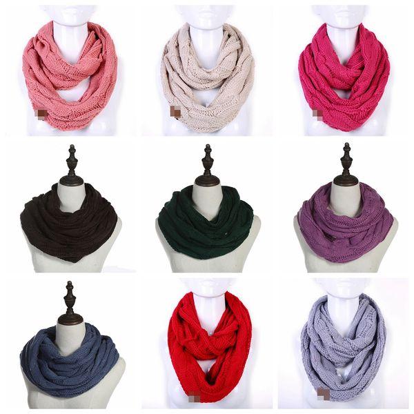 Moda Infinity bufandas círculo Loop cuello del invierno caliente del collar de la capucha Wraps sólido Mantón de punto redondo anillo bufanda Nueva TTA2055